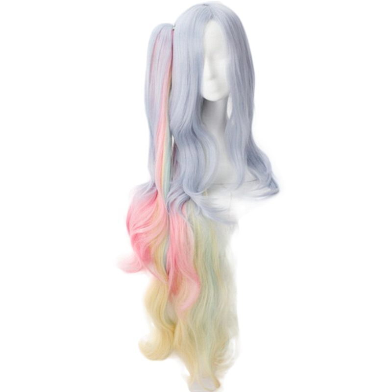 Anime NO GAME NO LIFE Shiro Long Curly Wavy Ponytail Wig Cosplay Costume Women Heat Resistant Hair Halloween Party Wigs