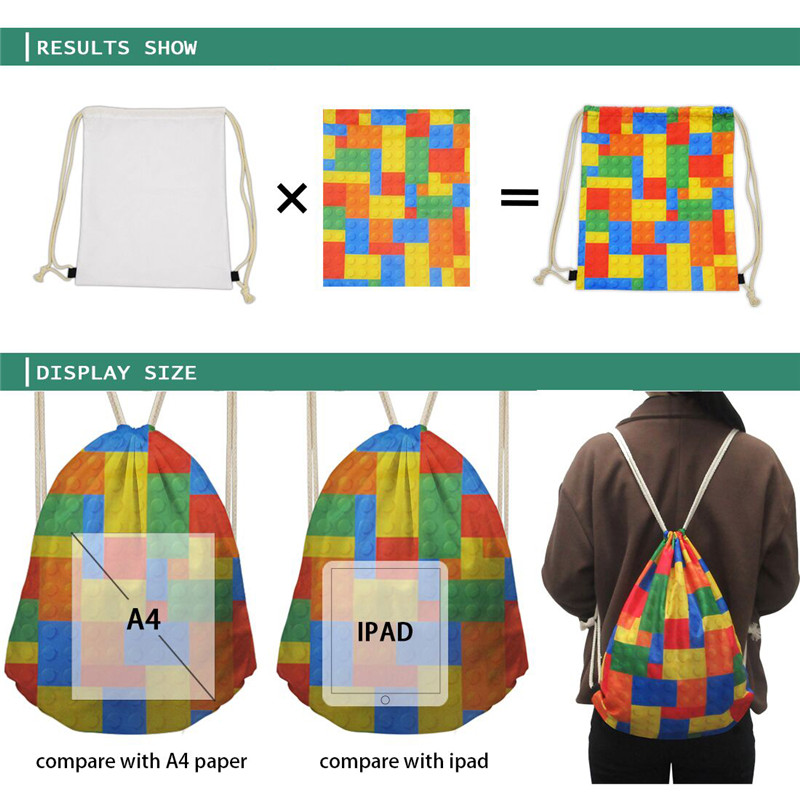 Coloranimal Novelty Design Stripe Leopard Printing Drawstring Bag Feminina Backpack Mochilas Casual Daily Shopping Bag Shoe Bags