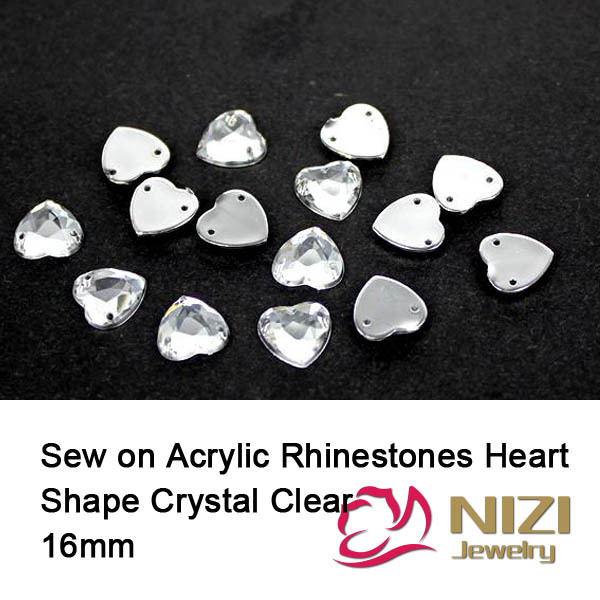 16mm Fashion Rhinestones For DIY Decoration Flatback Crystal Clear Strass Sewing Heart Shape Taiwan Acrylic Rhinestones