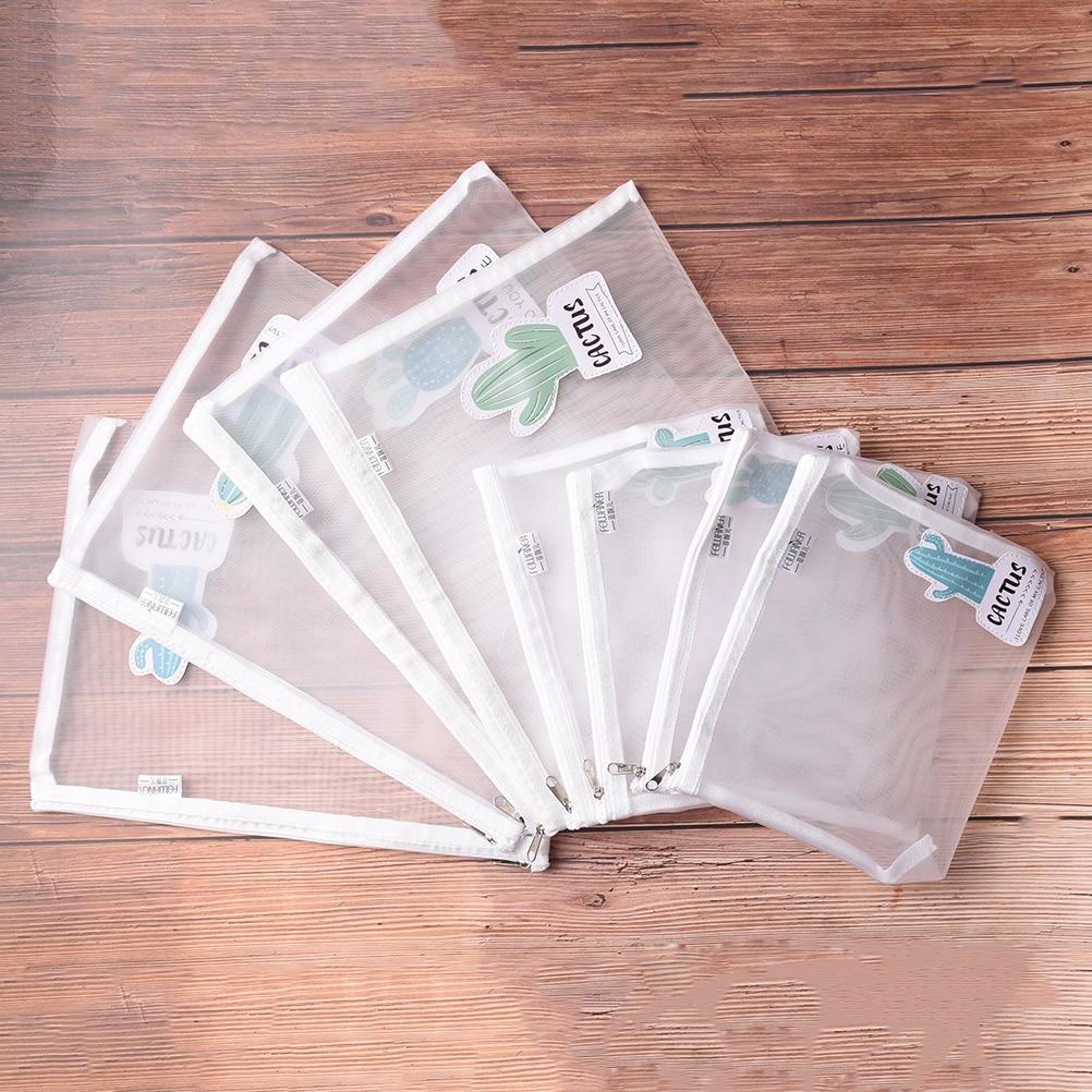 File Folder Lovely A4 Transparent Pvc Grid Folder Folder/a5 Cactus Envelope Stationery Bags Promotional Gift Stationery Bag File