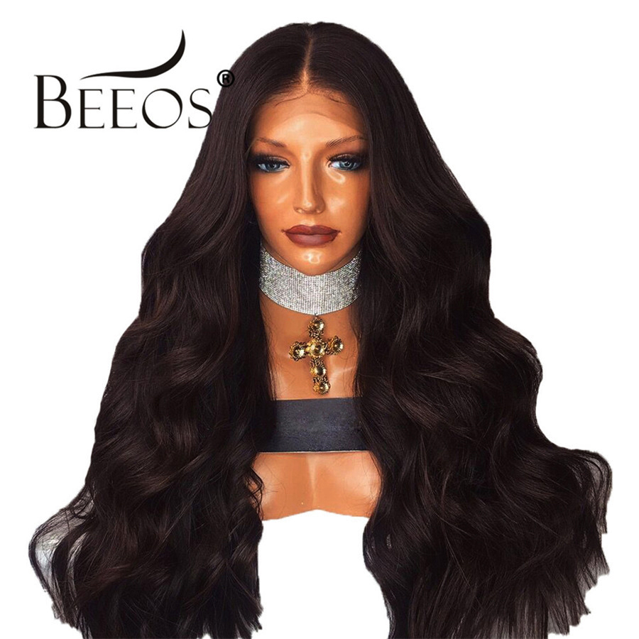 Beeos 250% Middle Part Natural Black Wavy Wigs with Baby Hair Brazilian Remy Hair 360 Lace Frontal Human Hair Wigs Pre Plucked