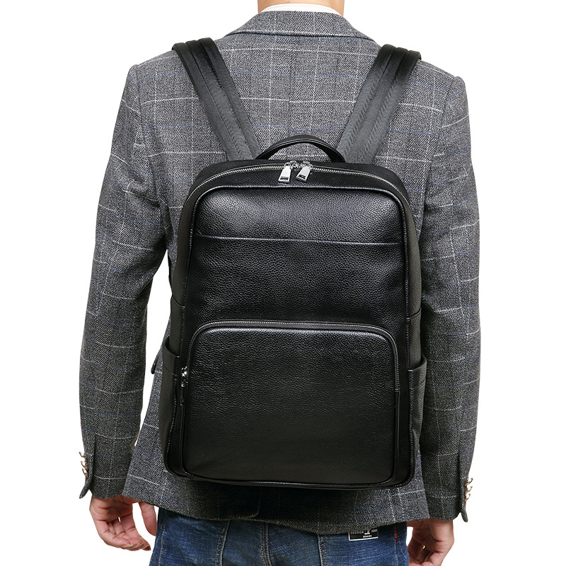 100% Cow Genuine Leather Men Backpacks Fashion Real Natural Leather Student Backpack Male Luxury Brand Lager Computer Laptop Bag