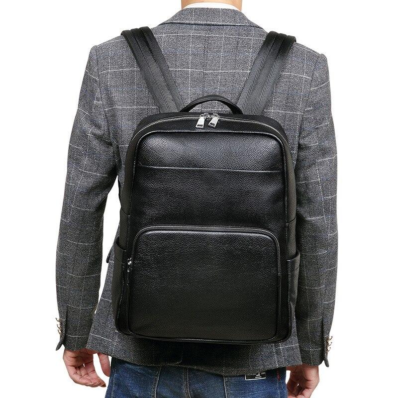 100% Koe Lederen Mannen Rugzakken Mode Echte Natuurlijke Lederen Student Rugzak Mannelijke Luxe Merk Pils Computer Laptop Tas-in Rugzakken van Bagage & Tassen op  Groep 1