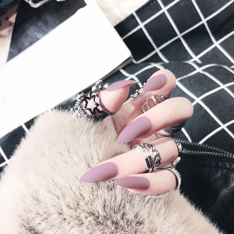 24pc Matte False Nails Art Decoration Pure Colors Matte Polish Long Sharp Head Full Cover Fake Nail Tips Patch with Glue Sticker in False Nails from Beauty Health