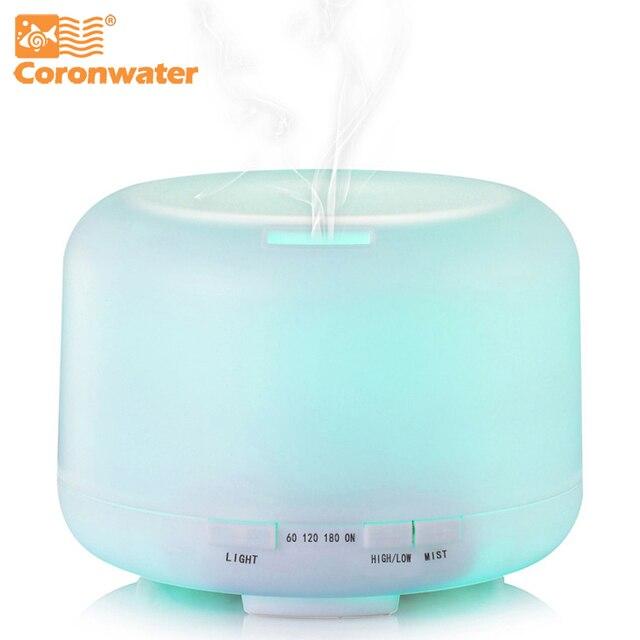 Coronwater 500 ml Aroma Ätherisches Öl Diffusor Ultraschall-luftbefeuchter 7 Farbwechsel Led-leuchten für Office Home