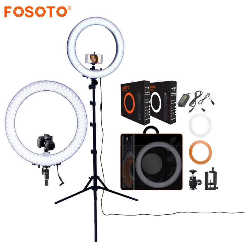 FOSOTO RL-18 Dimmable Photography Photo Studio Phone Video 18 inch Led Ring Light Tripod Stand Ring Lamp Camera With Big Bag Box