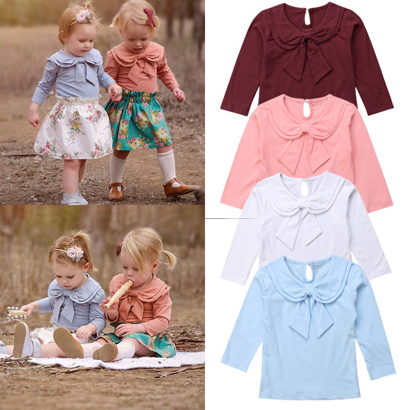 SUNBIBE Baby Girls Cotton Dresses Kids Princess Dresses Toddler Long Sleeve Butterfly Knot Solid Casual Dress