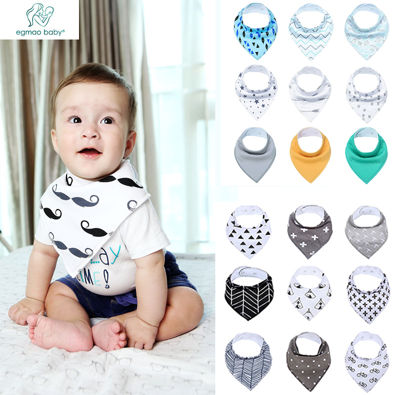 9 Pcs/ Lot Unisex Baby Bandana Drool Bibs, Super And Stylish Anti Dirty Absorbent 100% Cotton For Newborn Boys Girls Baby Bibs