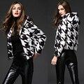 Alta Qualidade de Moda de Nova 2016 Mulheres Designer Curto Pato Jaqueta de Inverno Para Baixo Parkas Casaco Outwear Preto Plus Size Casacos de Capuz