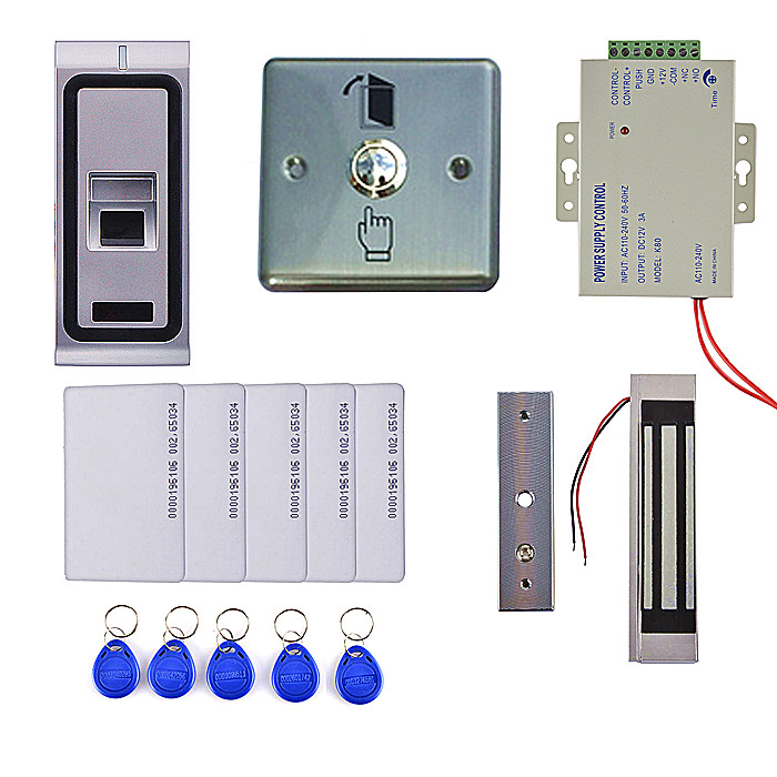 Electric Magnetic Lock +125KHZ ID Card Fingerprint Access Control System With Card Reader +Door Switch Release low cost m07e access control kit without software waterproof card reader card access control device with magnetic lock