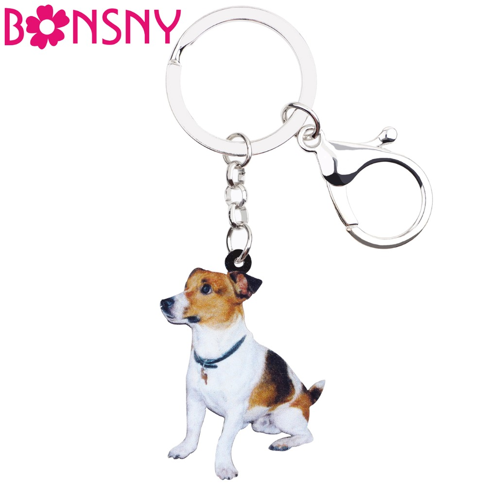 Bonsny Acrylic Sitting Jack Russell Terrier Dog Key Chains Keyrings Lovely Jewelry For Women Girl Ladies Handbag Charms Bulk Pet