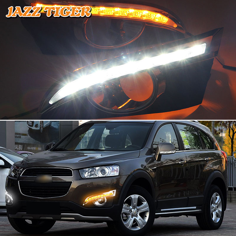 все цены на JAZZ TIGER Turn Yellow Signal Function Car DRL Lamp 12V LED Daytime Running Light Daylight For Chevrolet Captiva 2011 2012 2013