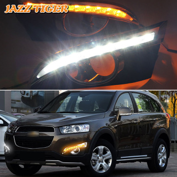 JAZZ TIGER Turn Yellow Signal Function Car DRL Lamp 12V LED Daytime Running Light Daylight For Chevrolet Captiva 2011 2012 2013