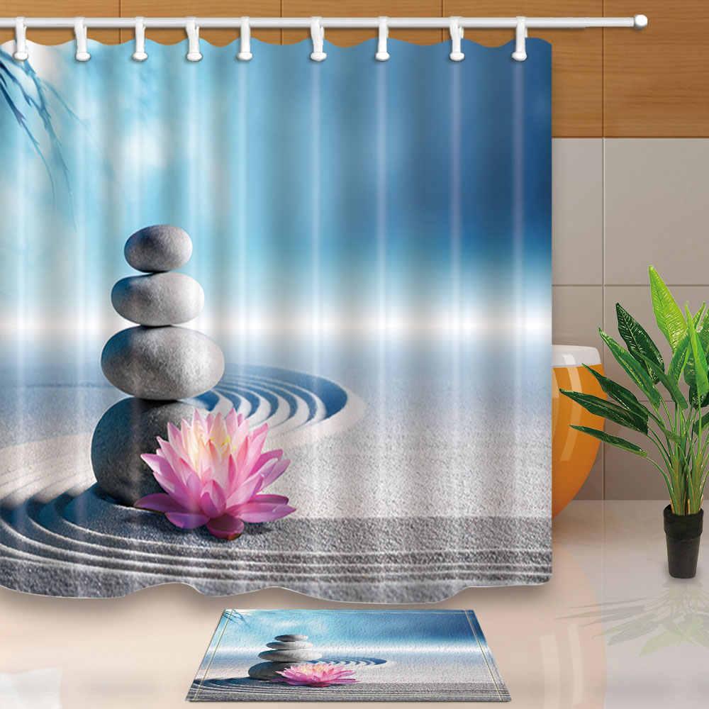 Plum Flower Lotus Bathroom Decor Shower Curtain Fabric Waterproof 12 Hooks