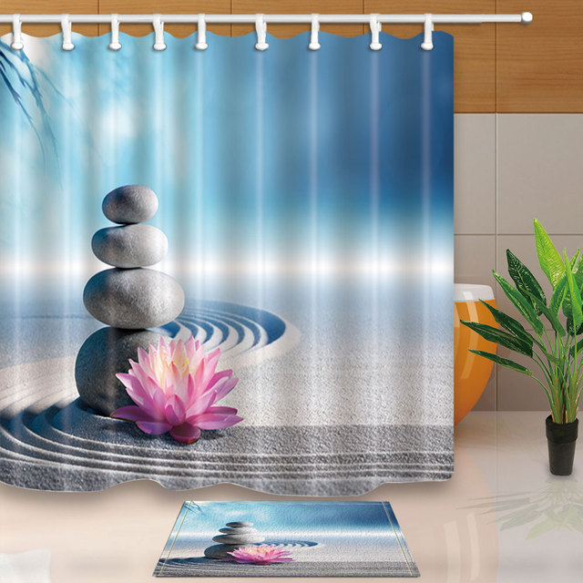 Creative Design Shower Curtains Stones And Lotus On Beach Serenity Style Bath Screens Fabric Waterproof Mildew Proof With Hooks