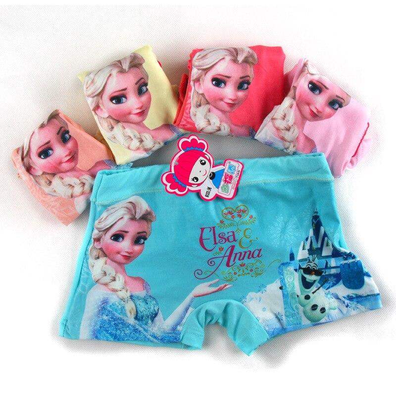 5pcs/lot Anna Elsa Cartoon Cool Children Boxer Underwear Girl Cotton Pants For Kids Pants Briefs Panties Underpants 3-11T