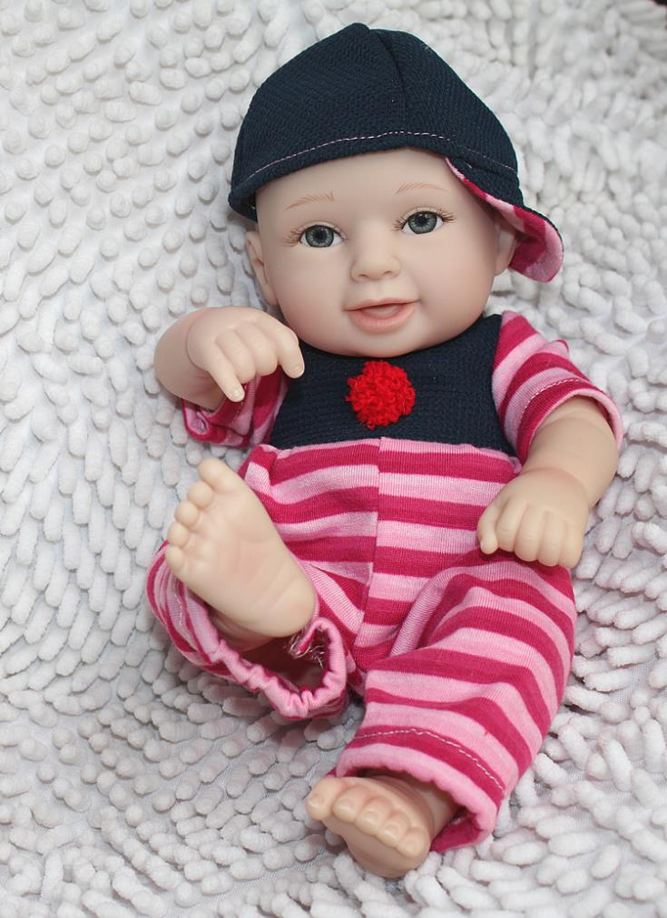 Cute 12inches Reborn Silicon Baby Boy Doll Smile Fake Face Vinyl