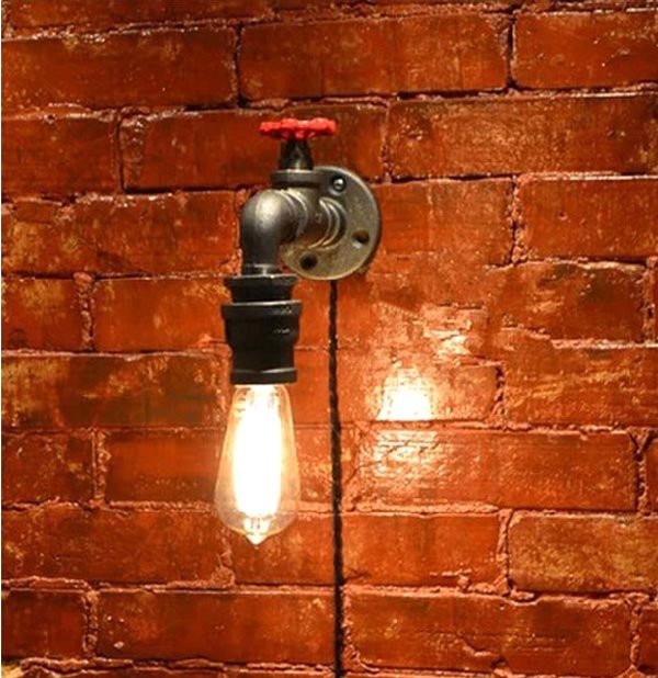 Retro Industrial Vintage Steam Valve Water Pipe Edison Wall Sconce Lamp Houseware Restaurant Home Decor Lighting Fixture 1 2 built side inlet floating ball valve automatic water level control valve for water tank f water tank water tower