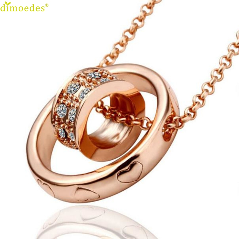 Diomedes Newest Creative Women Crystal Chain Rhinestone Necklace Love Heart Pendant Gift Rose Gold Trendy Link Necklaces