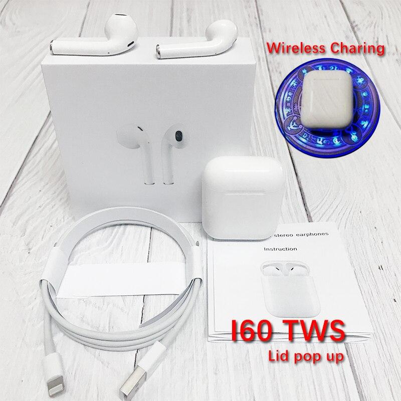 I60 TWS Pop up 1:1 utilisation séparée écouteurs sans fil charge sans fil Bluetooth écouteurs casques PK i30 i20 i12 i10 pas w1 puce