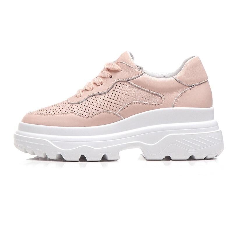 De Marca Mujer Plataforma Primavera blanco Cuero Zapatos Planos Mujeres Otoño Beige Nueva Hueco Casual Encaje Genuino Plana Fiesta Ribetrini Las rosado 75zEwq