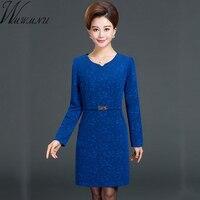 Wmwmnu Plus Size 5XL Women Elegant Jacquard Dress 2017 Autumn Winter Female Office Lady Dresses Long