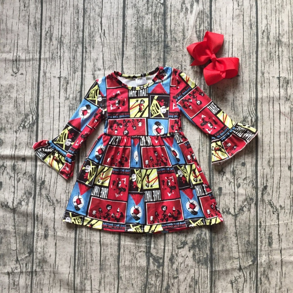 new milk silk Carton girls children clothes baby FallWinter long sleeve ruffle dress boutique kids wear with match clip bow