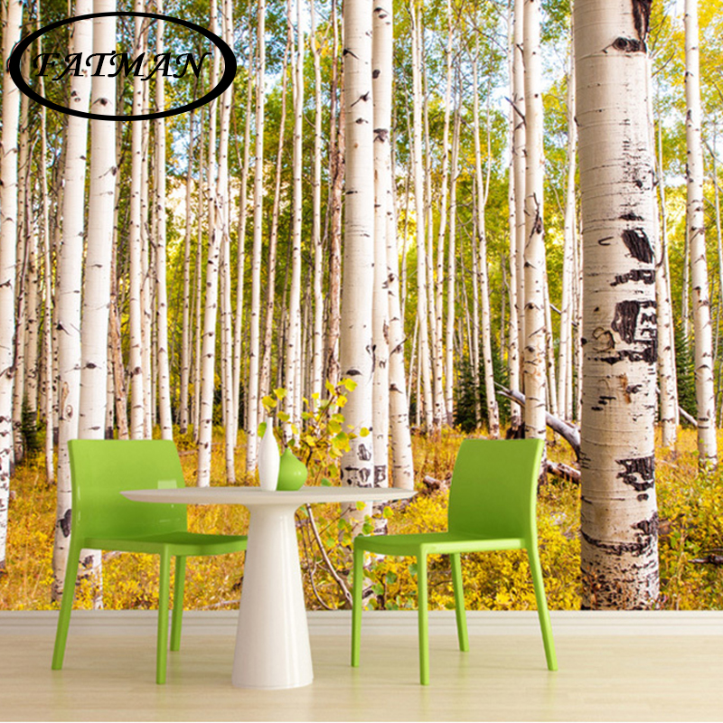 Custom 3D photo wallpaper Birch trees forest nature 3d wallpaper living room bedroom office mural wallpaper papel de parede book knowledge power channel creative 3d large mural wallpaper 3d bedroom living room tv backdrop painting wallpaper