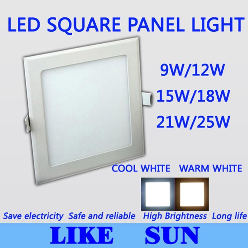 DOPRAVA ZDARMA ZDARMA Vysoko výkonné čtvercové LED osvětlení SMD2835 9W 12W 15W 18W 21W 25W 2200LM 110-240V Stropní svítidlo
