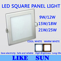 FREE SHIPPING High power Square Led Panel Light SMD2835 9W 12W 15W 18W 21W 25W 2200LM 110-240V Ceiling lamp downlight