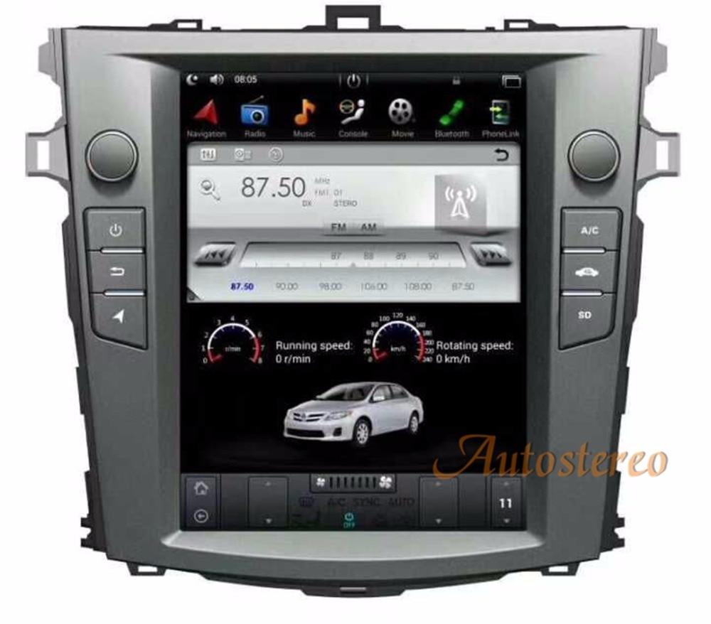 Android6.0 Tesla style 10.4 pouce De Voiture Aucun Lecteur DVD GPS Navigation Pour Toyota Corolla 2007-2013 stéréo unité Satnav multimédia