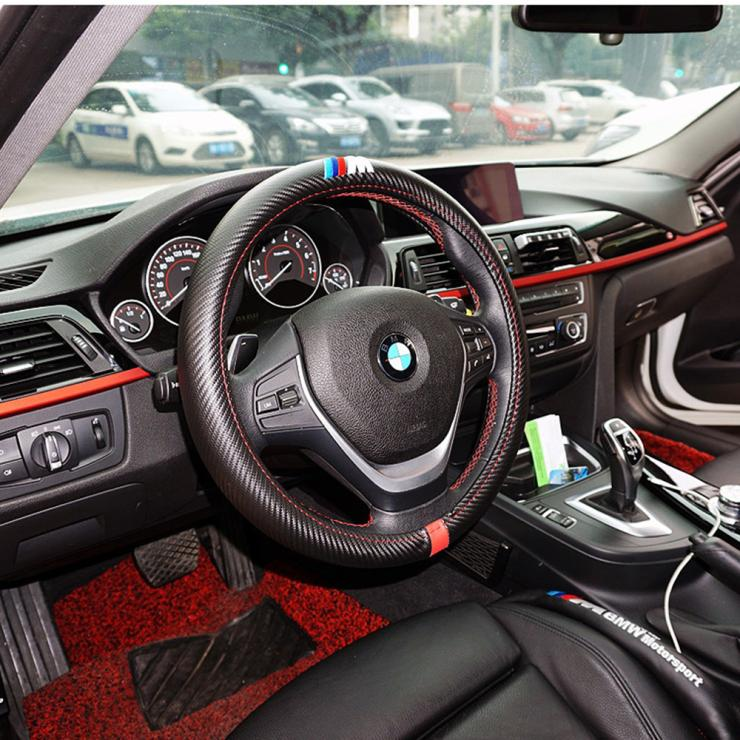 Car Styling M Carbon Fiber Leather Pu Steering Wheel