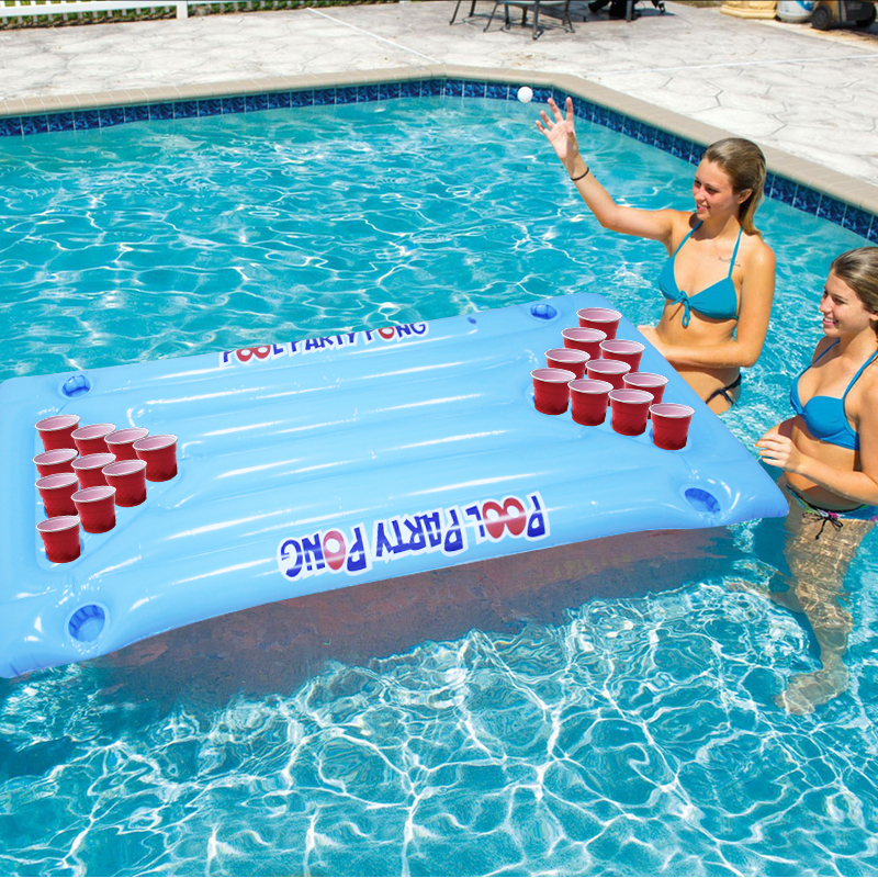 Hot-Selling-24-Cup-Holder-PVC-Inflatable-Beer-Pong-Table-Pool-Float-Water-Party-Fun-Air