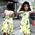 Lemon chalecos vestidos para niñas ropa de los cabritos muchachas de la impresión vestido de la liga verano 2016 Niños Vestido de Playa 4 6 8 10 12 Años Vestidos