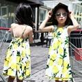 Vestidos para meninas roupa dos miúdos coletes lemon impressão meninas suspender vestido verão 2016 Crianças Vestido De Praia 4 6 8 10 12 Anos Vestidos