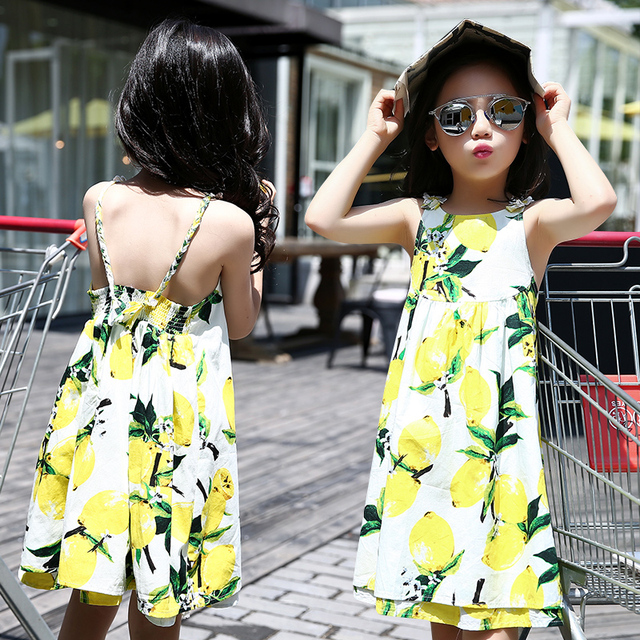 Vests Dresses For Girls Kids Clothes Lemon Print Girls Suspender Dress Summer 2016 Kids Beach Dress 4 6 8 10 12 Years Vestidos
