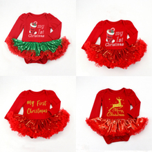 Baby Girls Outfits Newborn Infant My First Christmas Tutu Dress One Piece Baby Clothing Princess Birthday Dress Christmas Cloth newborn baby girls christmas costume tutu dress my first christmas baby clothes set headband xmas socks new born baby clothing