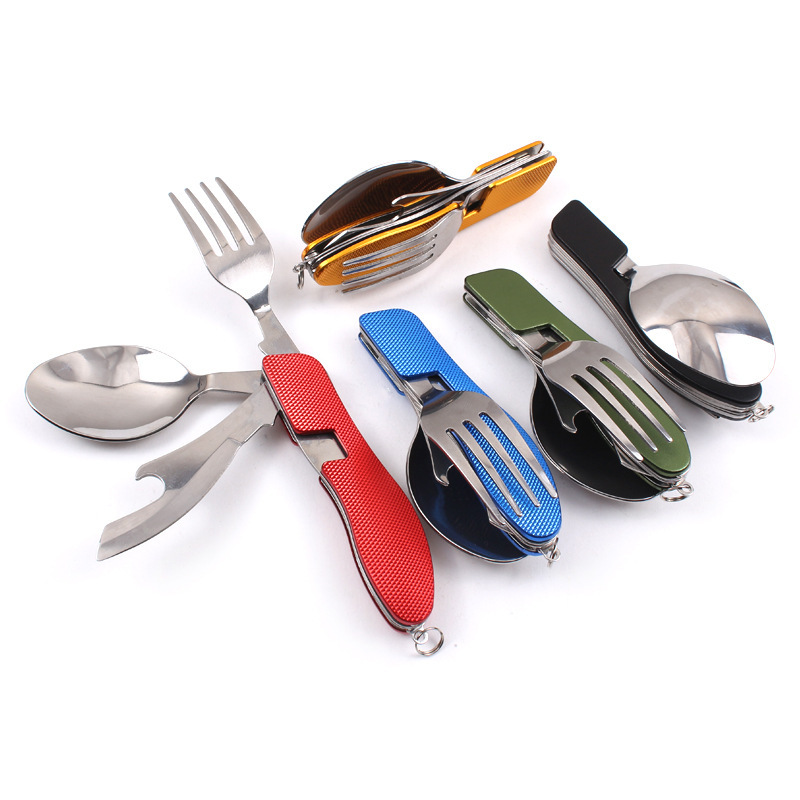 3 in 1 Multi-Function Stainless Steel Outdoor Tablewares Camping Hiking Folding Picnic Portable Cutlery Sets Knife for food Fork