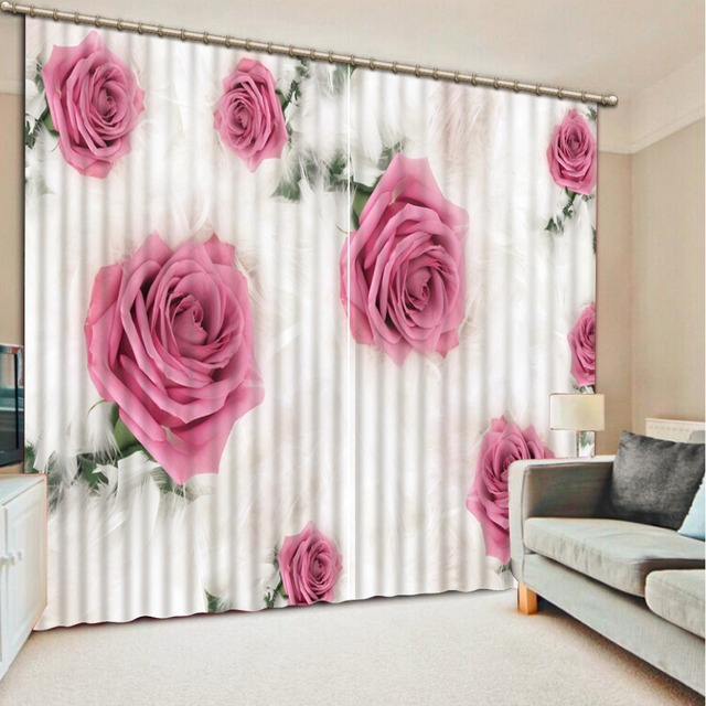Custom Romantic Pink Rose Painting 3D Window Curtain For Bedroom ...