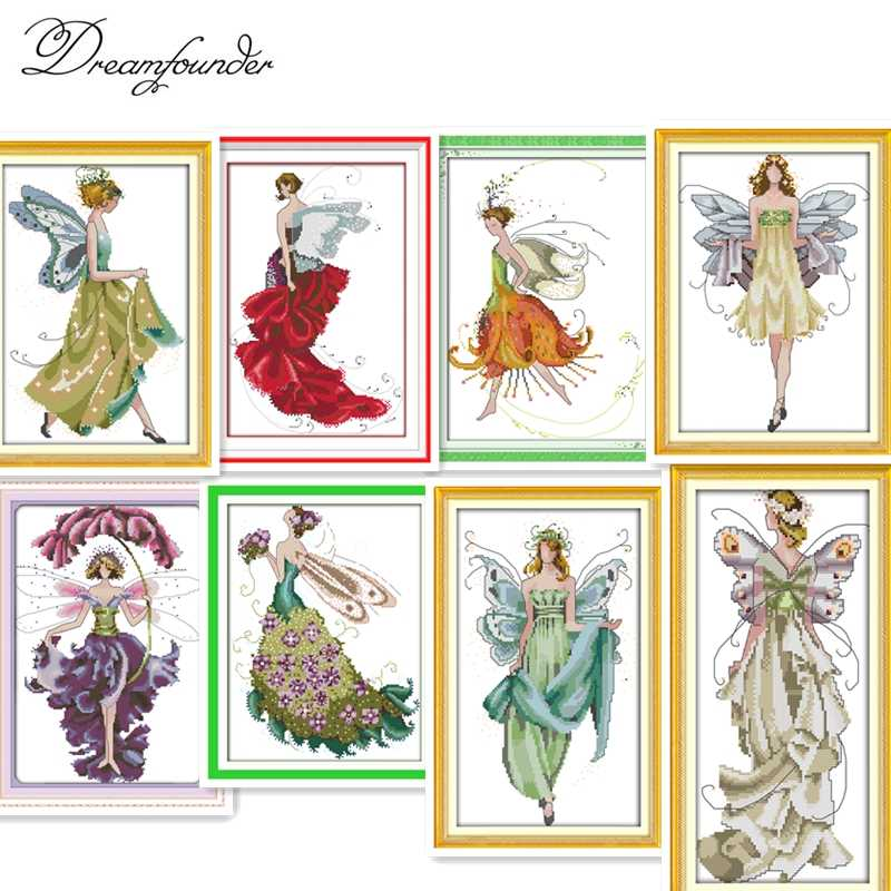 Flower fairy cross stitch kit beauty women girl 14ct counted fabric canvas cotton thread embroidery DIY handmade needlework plus