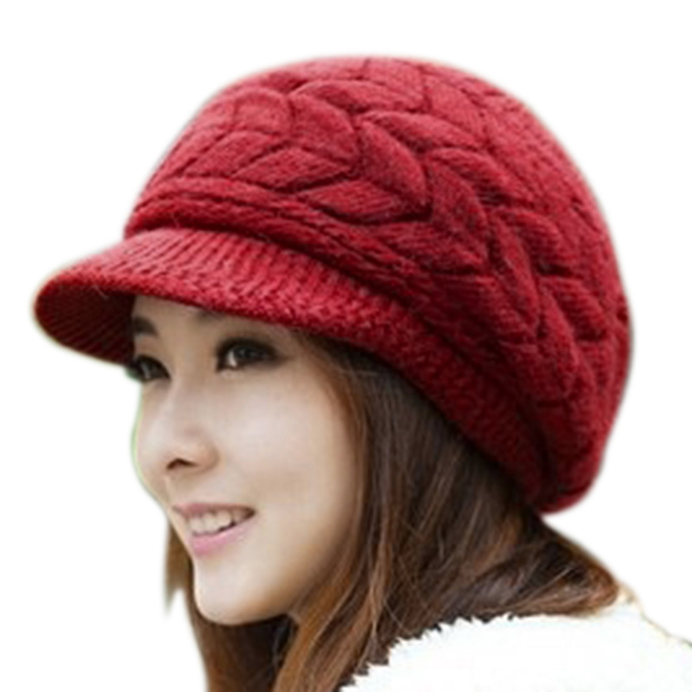Womens Winter Hats for Women Slouchy Openings Fluffy Knit Beanie Crochet  Hat Brim Cap Knitting Caps Free Shipping-in Skullies   Beanies from Apparel  ... 3193f26a6635