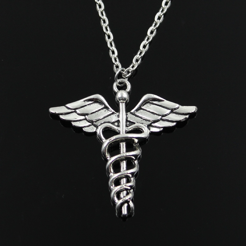 New Fashion Caduceus Medical Symbol Md Pendants Round Cross Chain Short Long Mens Womens Silver Color Necklace Jewelry Gift
