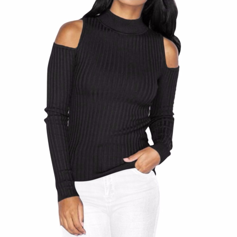 Autumn Turtleneck Off Shoulder Knitted Sweater Winter Women Sexy Pullover Tops Fashion Knitted Top