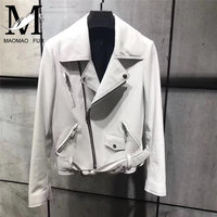 2017 Embroidery Real Leather Jacket Women Ladies 100% Natural Sheep Leather Jacket Short White Color Female Genuine Leather Coat