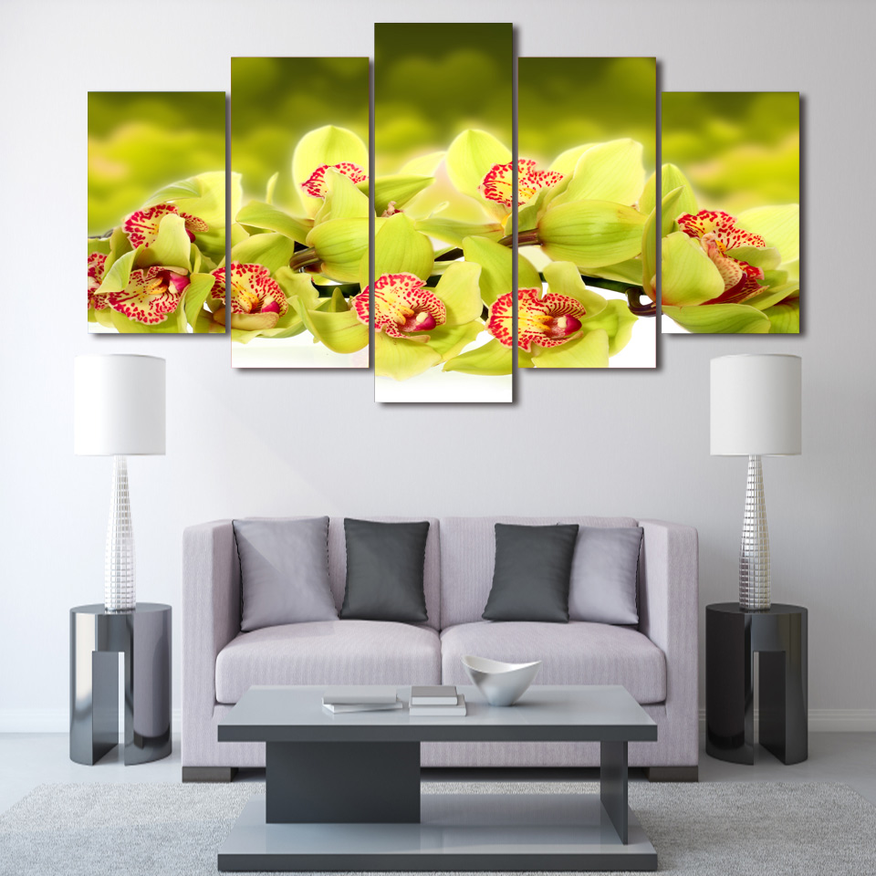 5 Pcs/Set Framed HD Printed Light Green Orchid Flower Picture Wall ...