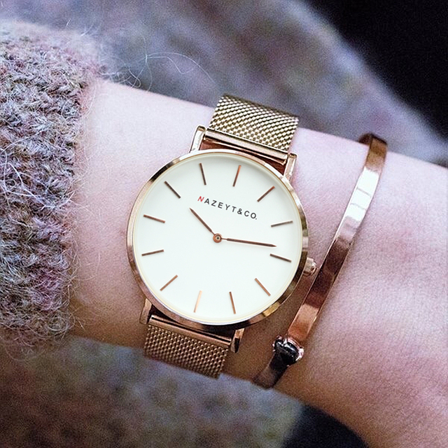 promotion new luxury brand women&men fashion casual rose gold silver steel strap