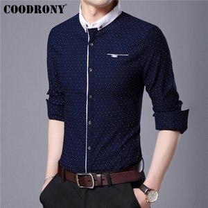 Image 2 - COODRONY marka koszula męska jesień nowy nabytek z długim rękawem bawełniana koszula mężczyźni Streetwear moda Dot mały kołnierzyk koszule na co dzień 96020