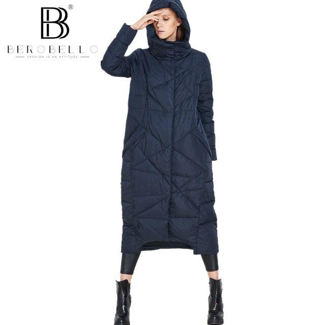 Berobello Новинка 2017 года зимняя куртка Для женщин X-с длинным капюшоном Пух Пальто 90% белая утка парка Теплая Верхняя одежда Пальто Плюс Размеры 1289