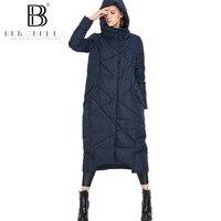 Berobello 2017 nueva chaqueta de invierno mujer x-long encapuchado Abrigos de plumas abrigo 90% pato blanco parka Outwear caliente más tamaño 1289
