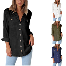 chic chic women blouse cute female ladies new womens top chiffon turn down collar button shirt top charter club womens petites chambray cuffed sleeve button down top